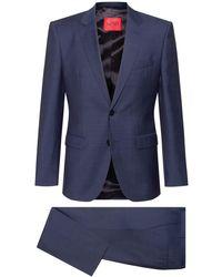 HUGO Gemusterter Regular-Fit Anzug aus Schurwoll-Mix - Blau