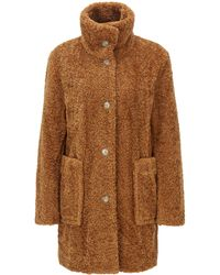 BOSS - Regular-fit Teddy Coat With Stand Collar - Lyst