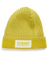 BOSS by HUGO BOSS Beanie Van Katoen En Wol Met Logo - Geel
