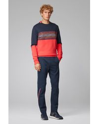 BOSS by HUGO BOSS Pantalones regular fit de tejido de punto de piqué con cordón - Azul