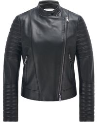 BOSS by HUGO BOSS Regular-fit Biker Jacket In Leather With Padded Details - Black