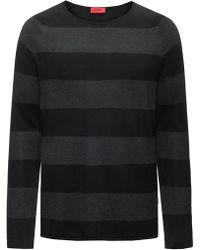 HUGO - Block-stripe Crew-neck Sweater In A Cotton Blend - Lyst