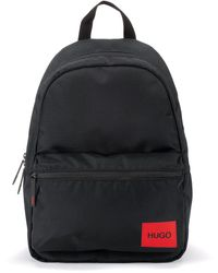 HUGO Backpack In Recycled Nylon With Red Logo Label - Black