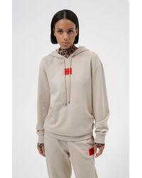 HUGO Katoenen Sweater Met Capuchon En Rood Logolabel - Naturel