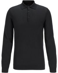 BOSS Slim-fit Polo Shirt In Mercerised Cotton With Buttoned Cuffs - Black