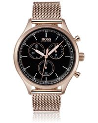 BOSS Rose-gold-plated Watch With Mesh Bracelet - Metallic