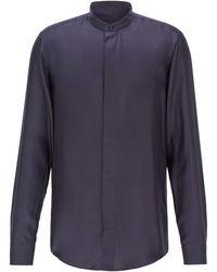 BOSS Slim-fit Evening Shirt In Italian Silk Twill - Blue