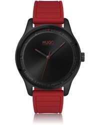 HUGO Stainless-steel Watch With Red Silicone Strap