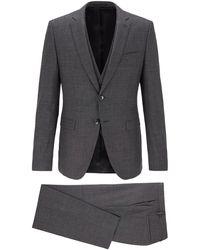 BOSS by Hugo Boss Extra Slim Fit Three Piece Suit In Virgin Wool - Gray