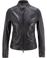 BOSS by HUGO BOSS Regular-fit Leather Jacket With Monogram-print Lining - Black