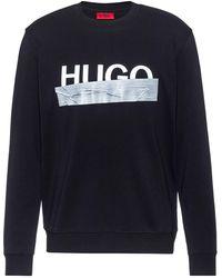 HUGO Interlock-cotton Sweatshirt With New-season Logo - Black
