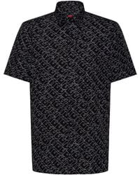 HUGO Cotton Canvas Relaxed Fit Shirt With Cubistic Logo Print - Black