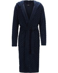 BOSS Hooded Dressing Gown In Monogrammed French Terry - Blue