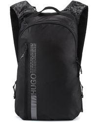 HUGO Nylon Backpack With Manifesto Logo And Snakeskin Print - Black