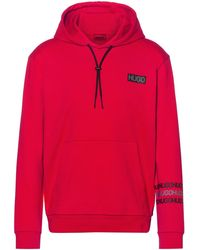 HUGO French-terry Cotton Hooded Sweatshirt With Tyre-print Logos - Red
