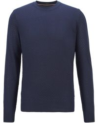 BOSS by Hugo Boss Micro-structured Jumper In Pure Silk - Blue