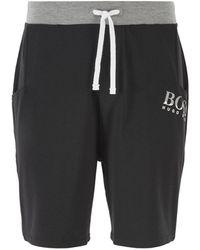 BOSS Short de pyjama en jersey stretch, avec taille à cordon de serrage - Noir