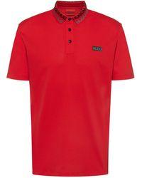 HUGO Permafit-cotton Polo Shirt With Tyre-print Logos - Red