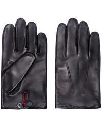HUGO Nappa-leather Gloves With Branded Press-stud - Black