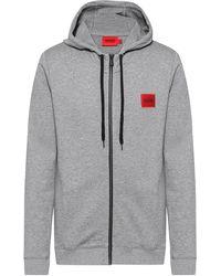 HUGO Sweatshirt Van Katoenen Sweatstof Met Ritssluiting En Logopatch - Grijs