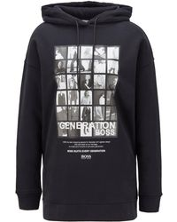 BOSS by Hugo Boss - Cotton-blend Hooded Sweatshirt With Collection-themed Print - Lyst