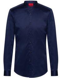 HUGO Slim-fit Shirt In Easy-iron Cotton Twill - Blue