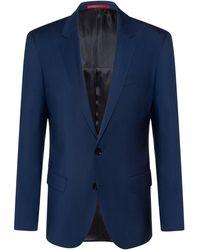 HUGO Slim-fit Jacket In Virgin-wool Poplin - Blue