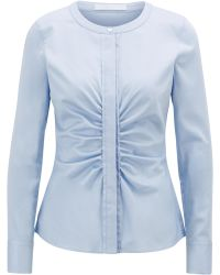 BOSS - Collarless Blouse In Stretch Satin With Ruching Detail - Lyst