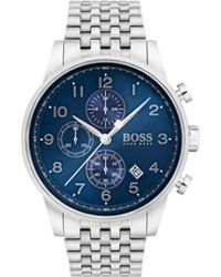 BOSS - Polished Stainless-steel Chronograph Watch With Blue Sunray Dial - Lyst