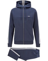 BOSS by HUGO BOSS Regular-fit Cotton-blend Tracksuit With Contrast Stripes - Blue
