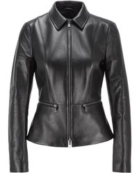 BOSS by HUGO BOSS Regular-fit Jacket In Lamb Leather With Zipped Waistline - Black