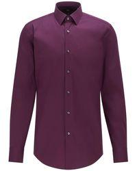 BOSS by HUGO BOSS Gemakkelijk Te Strijken Slim-fit Overhemd In Een Popeline Van Een Katoenmix - Paars