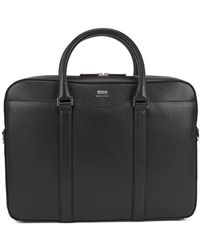 BOSS by Hugo Boss Laptop Bag In Finely-textured Leather: 'signature_s Doc' - Black