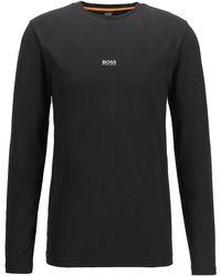 BOSS by HUGO BOSS T-shirt Van Stretchkatoen Met Lange Mouwen En Logo In Vijf Laagjes - Zwart