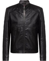 HUGO Extra-slim-fit Biker Jacket In Nappa Leather - Black