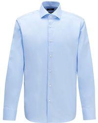 BOSS by HUGO BOSS Regular-Fit Hemd aus Baumwoll-Twill - Blau