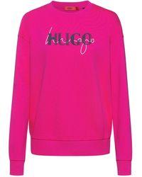 HUGO Sweater Van Katoenen Sweatstof Met Nieuw Dubbel Logo - Roze