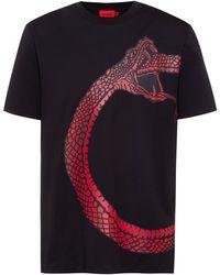 HUGO Organic-cotton T-shirt With Snake Artwork - Black