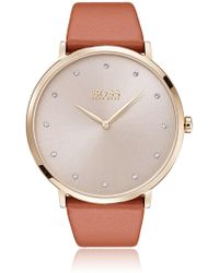 BOSS - Slimline Watch With Sunray Dial And Brown Leather Strap - Lyst