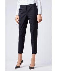 BOSS by Hugo Boss Pantalon court Regular Fit en laine vierge italienne stretch - Noir