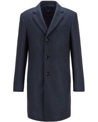 BOSS by HUGO BOSS Slim-fit Blazer-style Coat With Herringbone Structure - Blue
