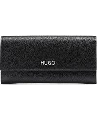 HUGO Continental Wallet In Grainy Leather With Logo Hardware - Black