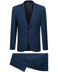 HUGO - Extra-slim-fit Three-piece Suit In Patterned Virgin Wool - Lyst