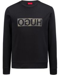 HUGO - Sweatshirt In Pure Cotton With Camouflage-print Reverse Logo - Lyst
