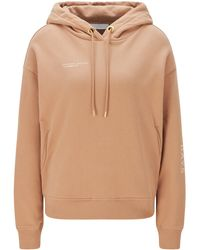 BOSS by HUGO BOSS Golden-logo Hooded Sweatshirt In An Organic-cotton Blend - Brown