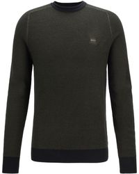 BOSS Lightweight Jumper In Virgin Wool With Rice-corn Structure - Green
