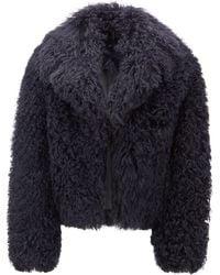 BOSS Oversized-lapel Jacket In Mongolian Shearling - Blue