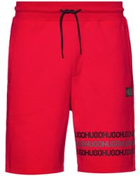 HUGO Cotton-terry Shorts With Tyre-print Logos - Red