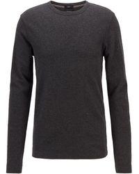 BOSS by HUGO BOSS Slim-fit T-shirt Met Lange Mouwen, Van Katoen Met Wafelstructuur - Zwart