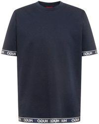 HUGO Cotton-blend T-shirt With Logo Cuffs And Hem - Blue